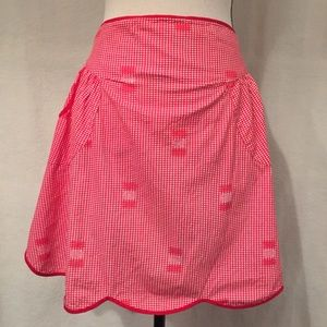 Vintage hand made red gingham scalloped half apron